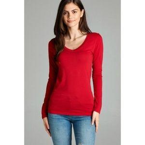 Tops - Basic Red Long Sleeve V-Neck Tee